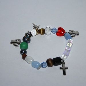 Beautiful stone and crystal cross angel bracelet